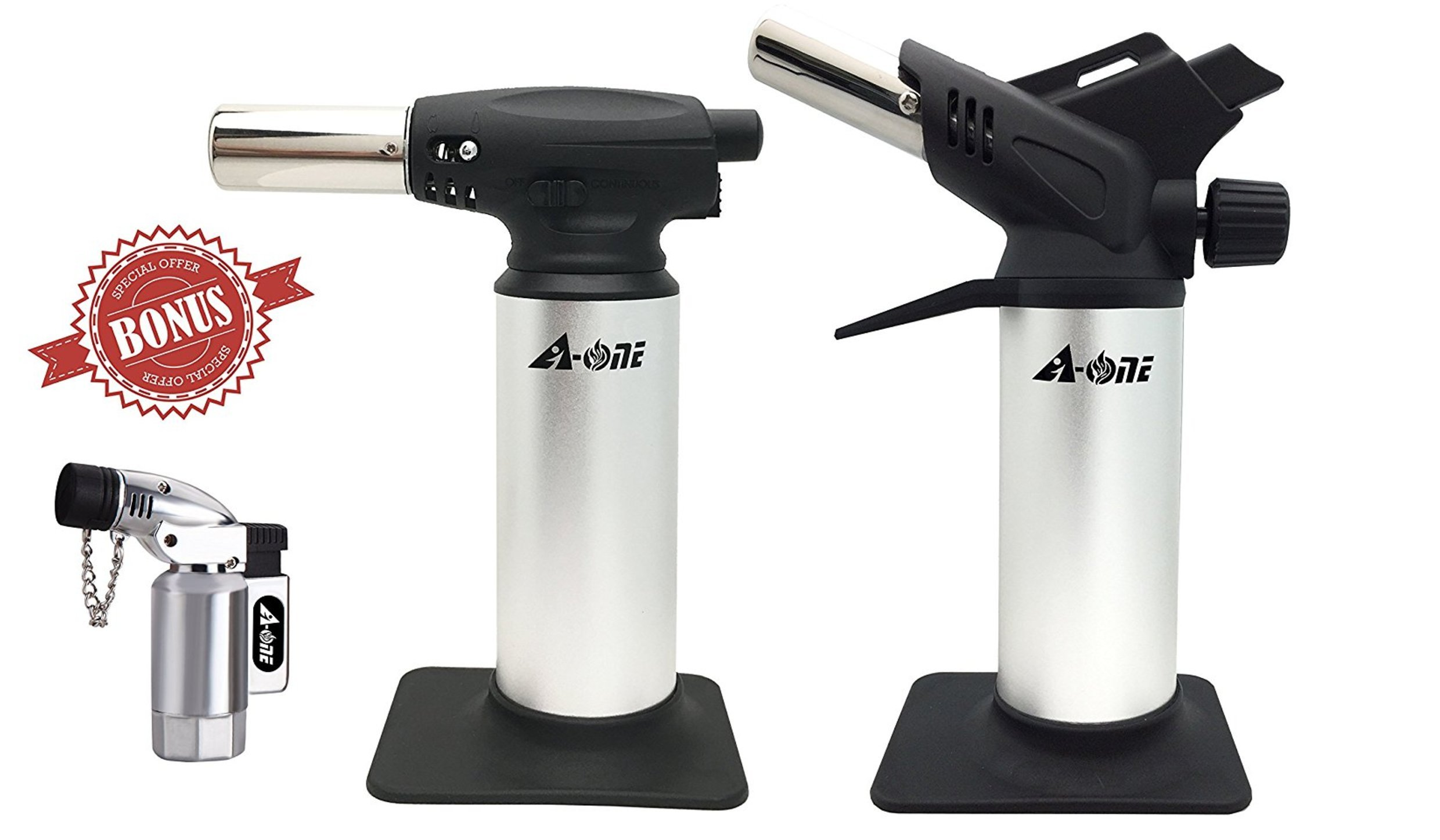 A-ONE GAS TOOL Butane Brazing Torch-Blow Torch-1 Double Flame Gas Torch and 1 Sigle Flame Blow Torch with 1 Free Torch Lighter (3 in 1 Pack)