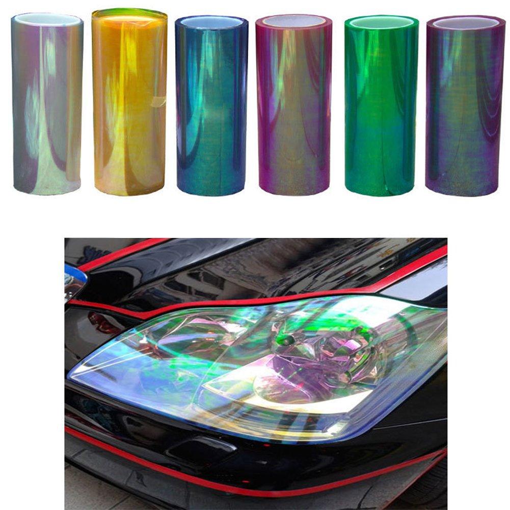 motos color brillante y cambiante Pel/ícula de luz trasera para faros delanteros Chameleon 120 x 30 cm para coches resistente al agua camiones y autobuses 120 * 30cm 1