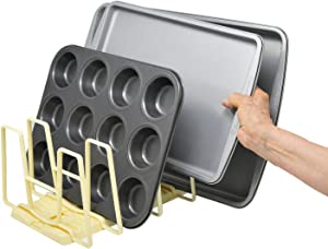 HOME-X Adjustable Rack-Food Container Lid Organizer-6 Dividers Storage Container Lid organizer for Cabinets, Cupboards, Pantry Shelves, Drawers-Keep Kitchen Tidy
