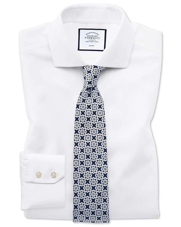 Chemise Blanche En Oxford Stretch Coupe Droite à voiturereaux Et Col Cutaway Sans Repassage   Blanc (Poignet Simple)   16   33