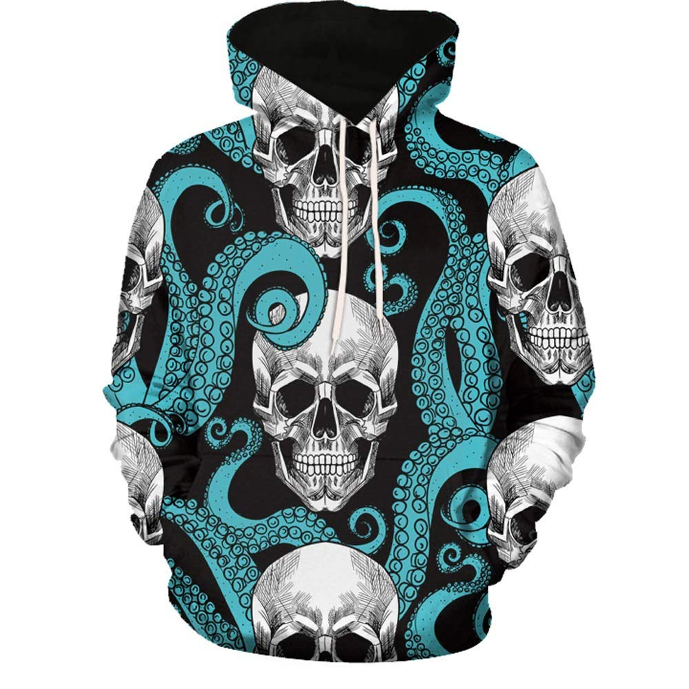Ciyoon 3D Printed Fashion Mens Autumn Winter Long Sleeve Hooded Sweatshirt Tops Blouse