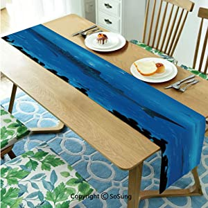 "Shark Table runner for Farmhouse Dining Coffee Table Decorative,Japanese Aquarium Park with People Silhouettes Watching Underwater Life Hobby Image Decorative 16""x84"" Polyester linen Tea Table Runner,"
