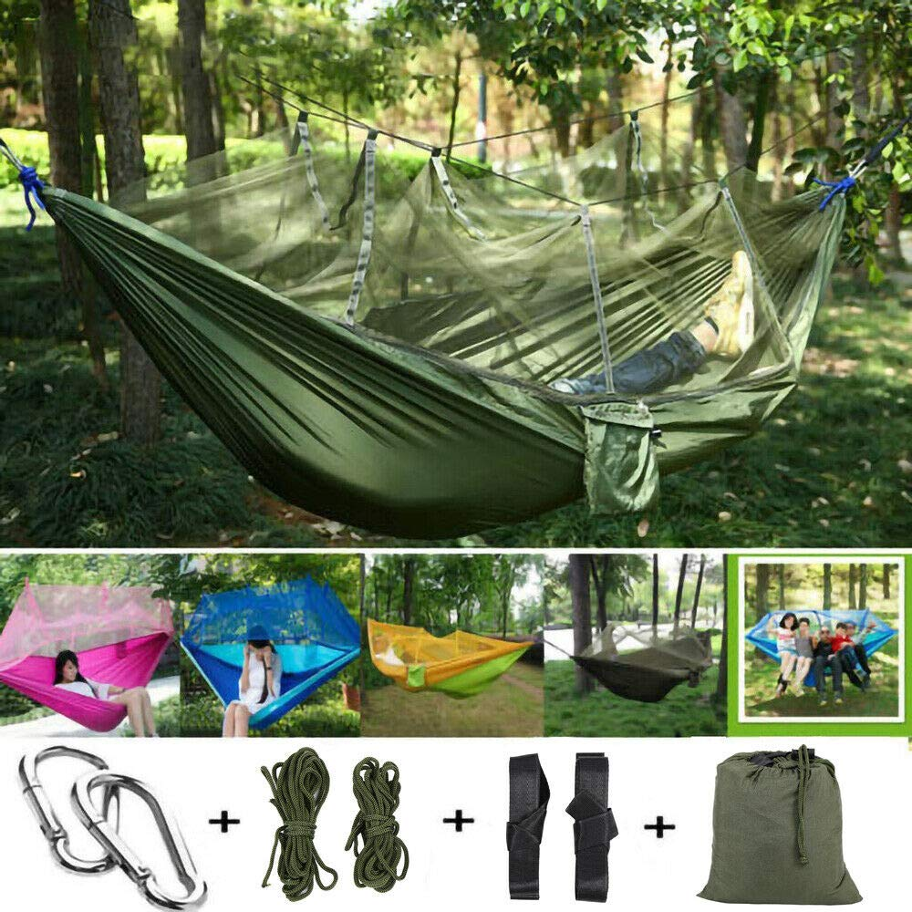 TryE New Double Camping Hammock with Mosquito Net Portable Hammock for Backpacking Travel Camping Beach Yard