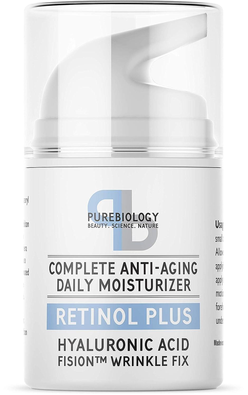 Pure Biology Retinol Moisturizer Cream with Hyaluronic Acid Vitamins B5 E  Breakthrough Anti Aging