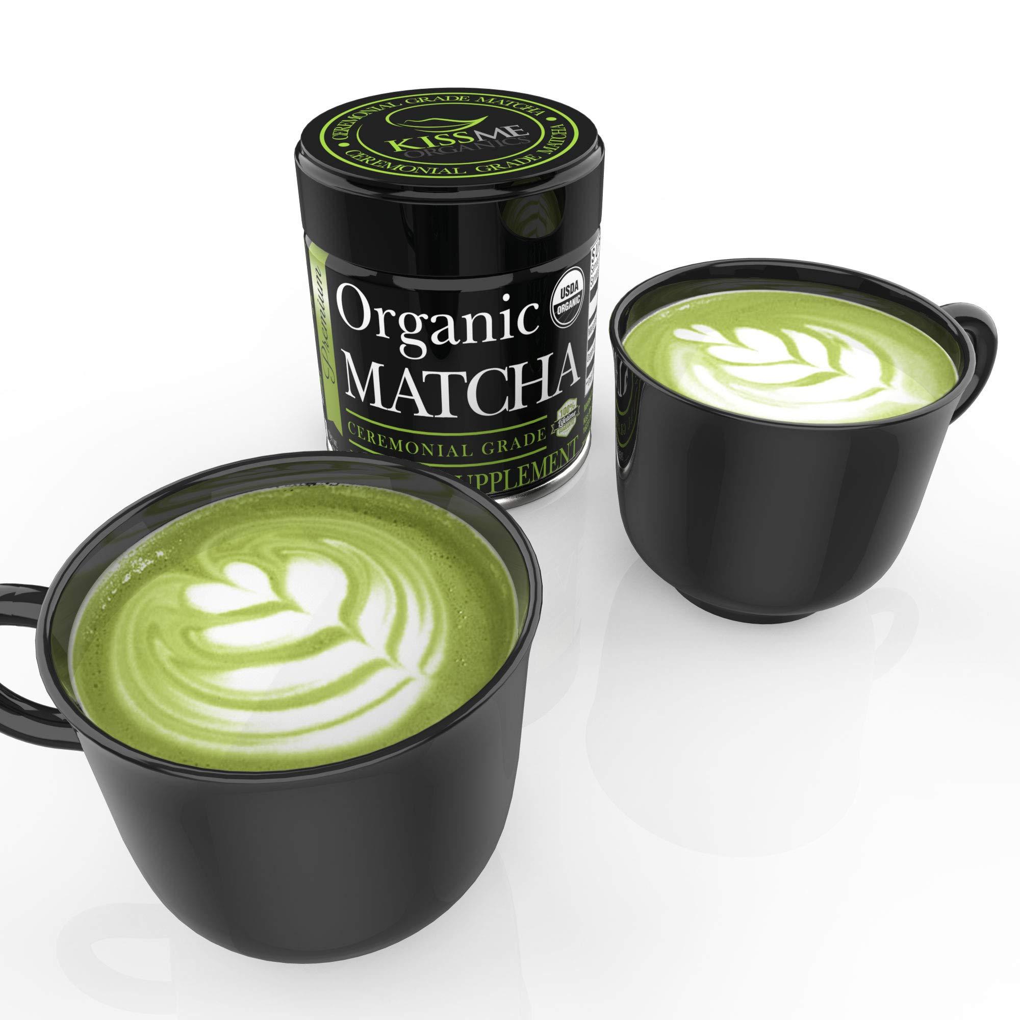 Matcha Green Tea Powder - Powerful Antioxidant Japanese Organic (Ceremonial 1 oz) by Kiss Me Organics