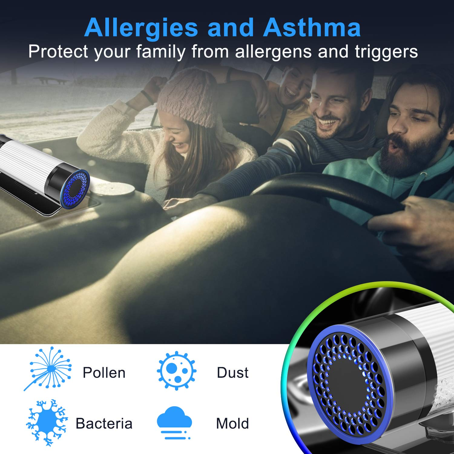 QUEENTY HEPA Car Air Purifier, High Efficiency Carbon Filter, Eliminates Smoke, Dust, Pollen and Bad Odors for Auto and Small Space