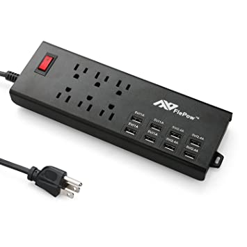 Perfect FlePow Surge Protector Power Strip 1625W/13A 6 Outlet Power Strips With 8  USB