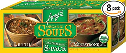 Amazoncom Amys Organic Soups 2 Flavor Variety Pack Pack Of 8