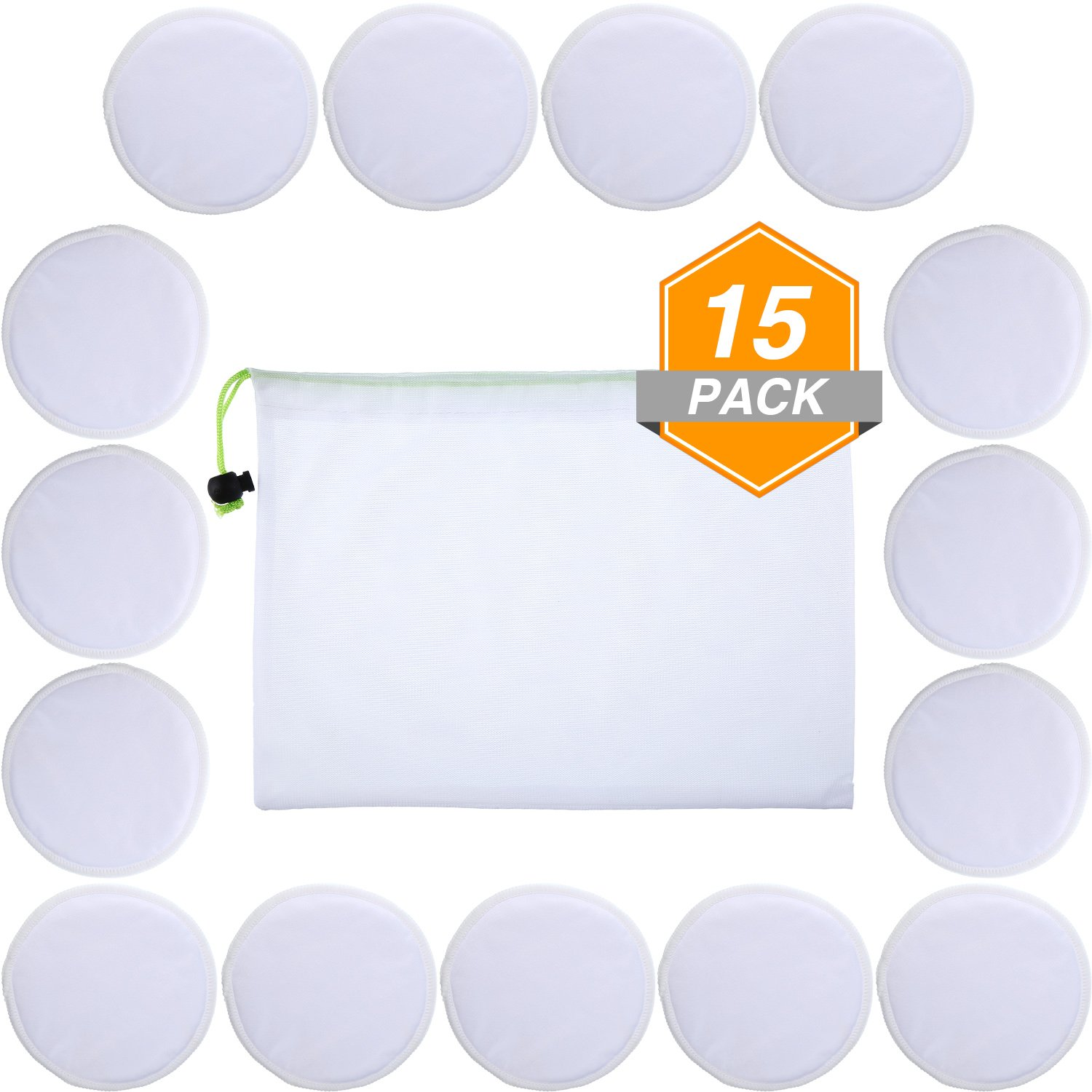 15 Pieces Makeup Remover Pads Soft Face Clean Pads Skin Care Wash Cloth Pads with Mesh Drawstring Bag, White Gejoy