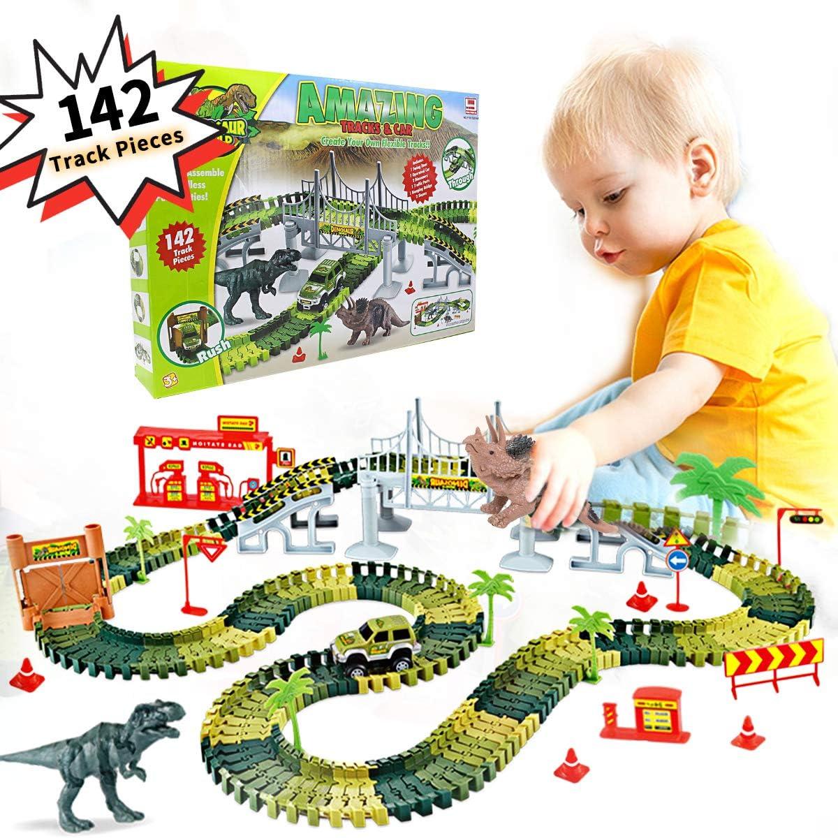 Regalos para Niños de 3 5 6 8 Años Jurassic World Dinosaurio Juguetes para Niños Juego de Pistas Coches de Juguetes Flexible 142 Piezas Playset Festival Accesorios Regalos cumpleaños para Niños: Amazon.es: Juguetes y juegos