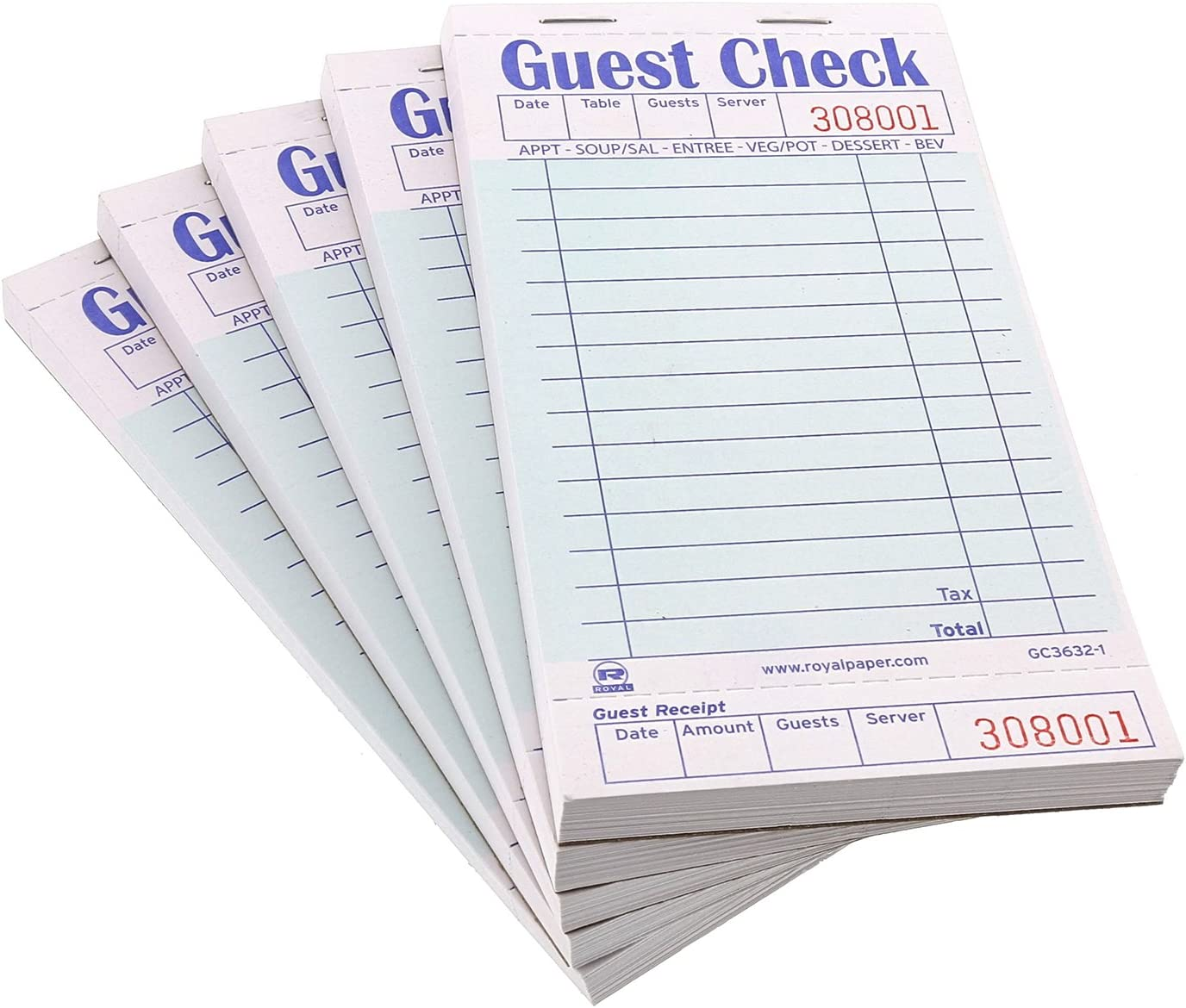 1 Part Booked with 15 Lines Royal Green Guest Check Board Package of 10 Books