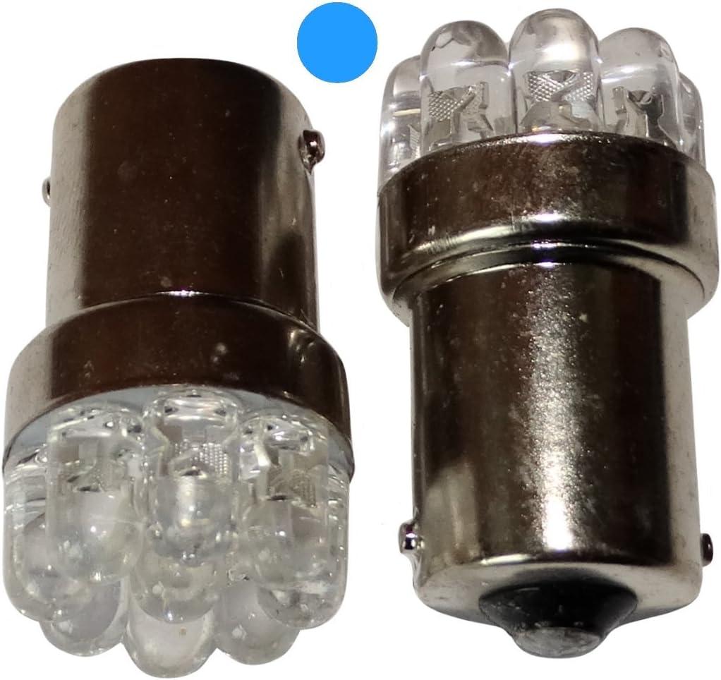 AERZETIX: 2 x Bombillas 24V P21W R10W R5W 9LED azul para camion semirremolque puerta de garaje portal