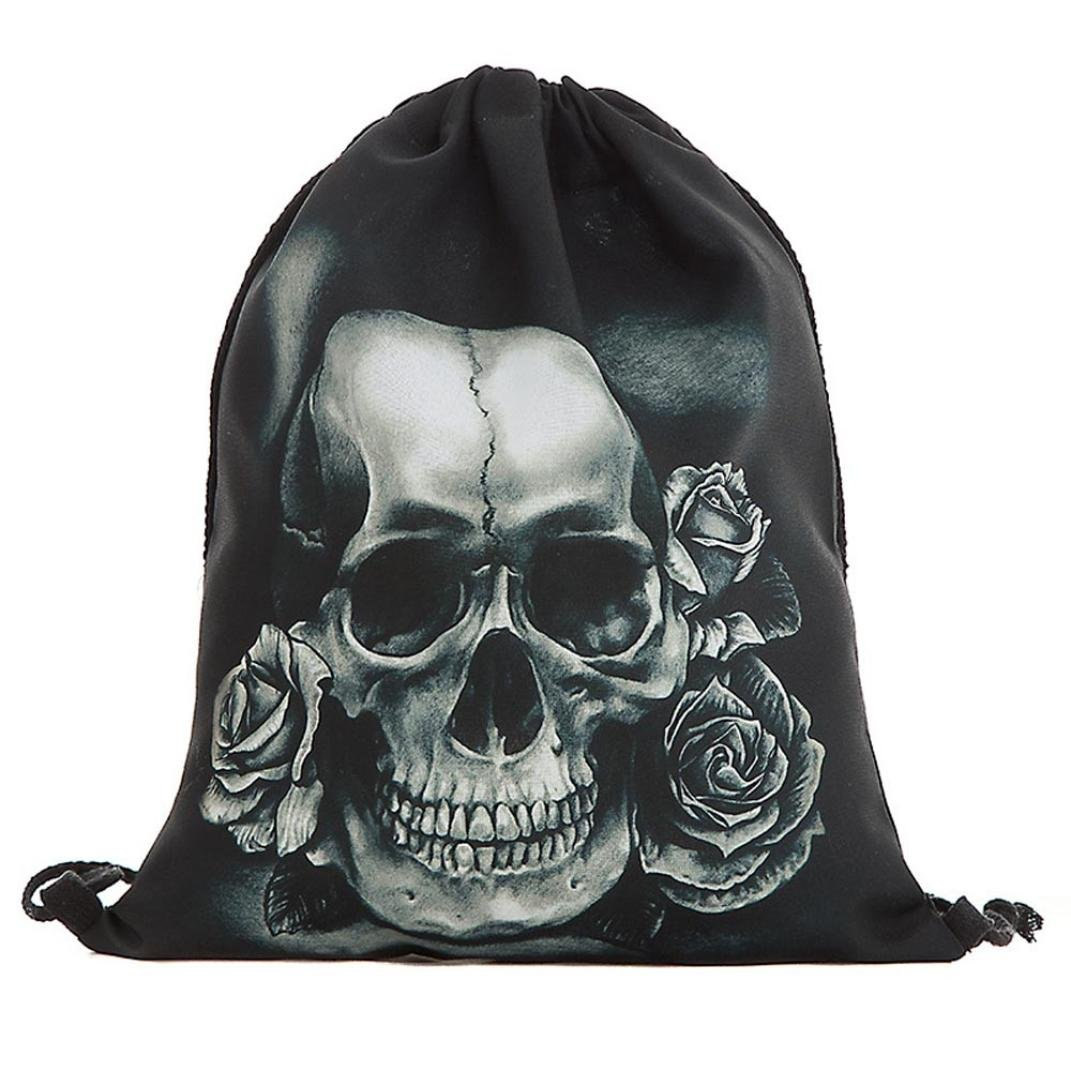 Clearance Unisex 3D Skull Rose Flowers Printing Bags Drawstring Backpack (A)