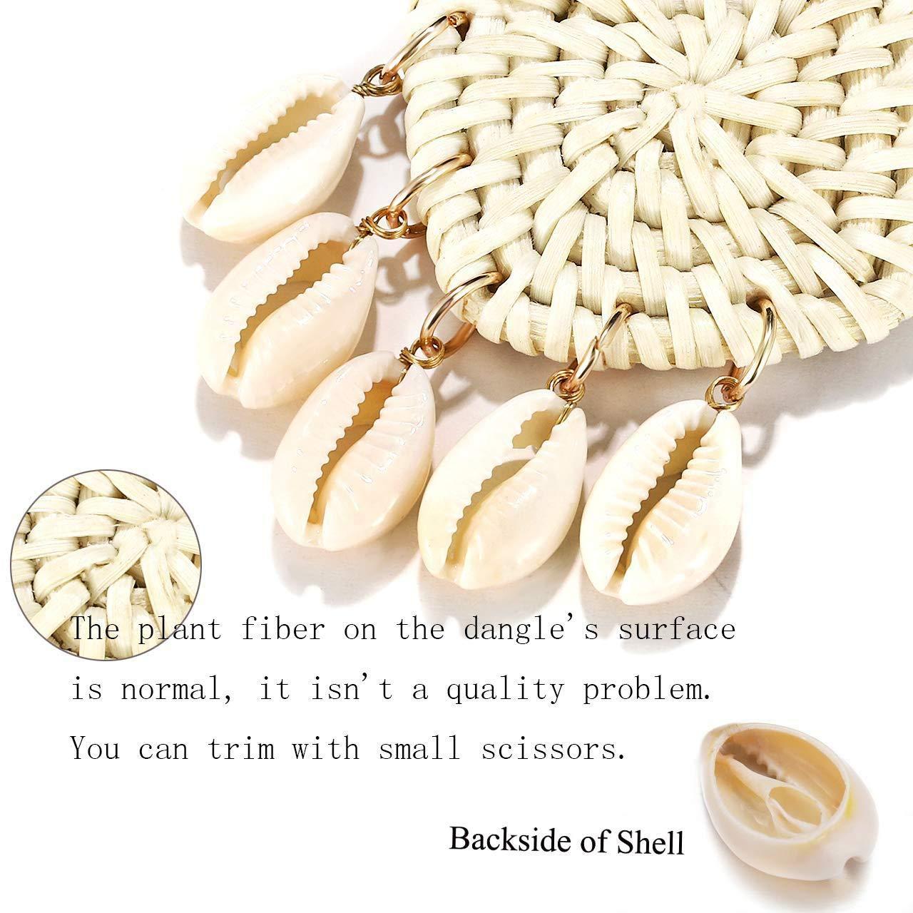 Mountainer Woven Rattan Shell Earrings Bohemian Handmade Lightweight Geometirc Statement Dangle Earrings for Women Girls Beach Jewelry