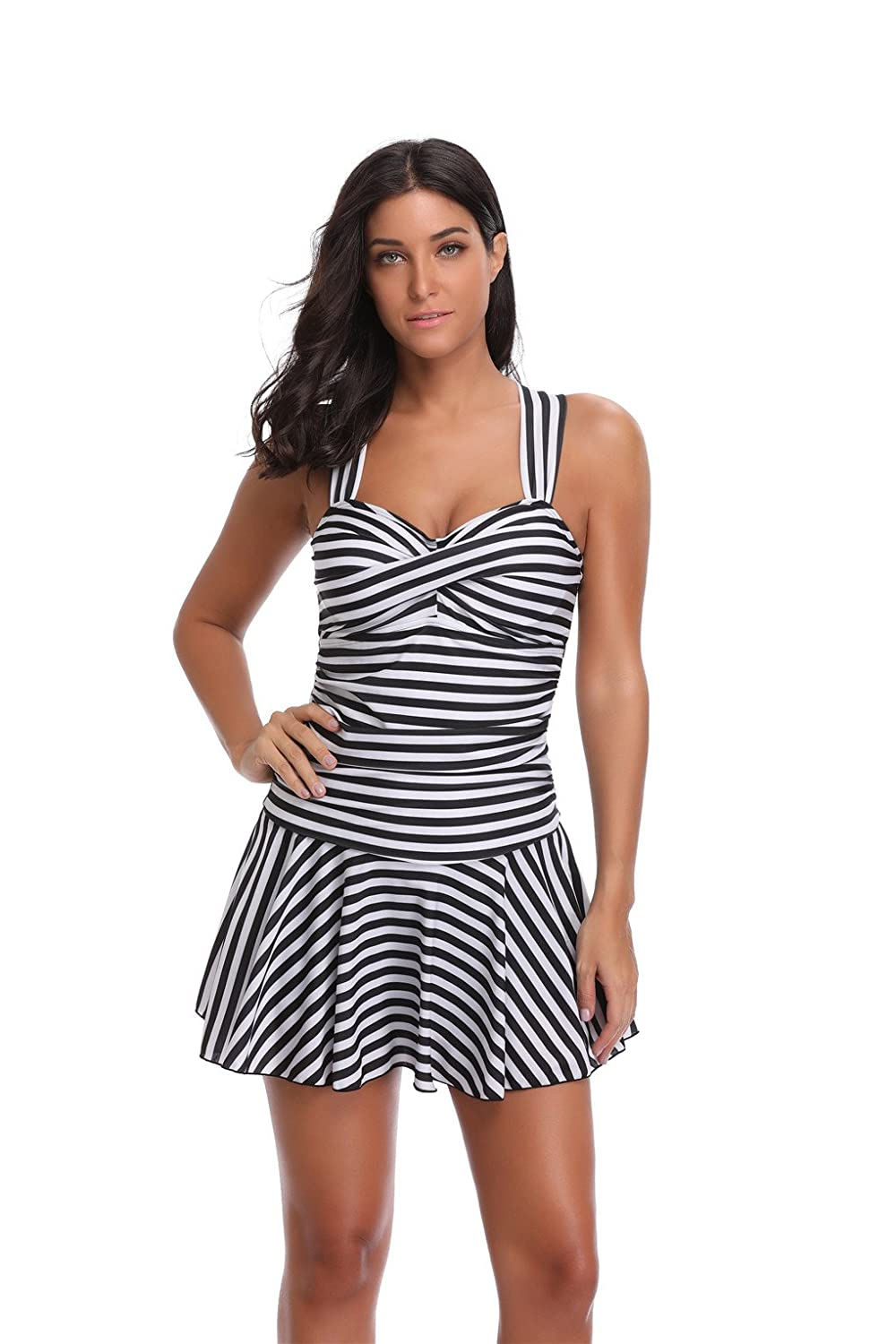 e24c54dc7ef Leoparts Striped Swim Dress One Piece Bathing Suit Skirted Swimsuits for Women  Swimwear at Amazon Women's Clothing store: