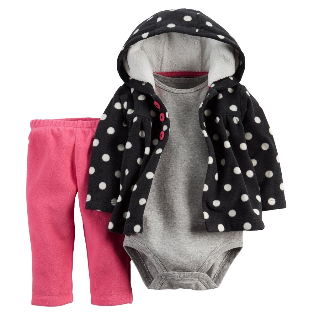 Carters Baby Girls 3-Piece Cardigan Set Black Dots 9M