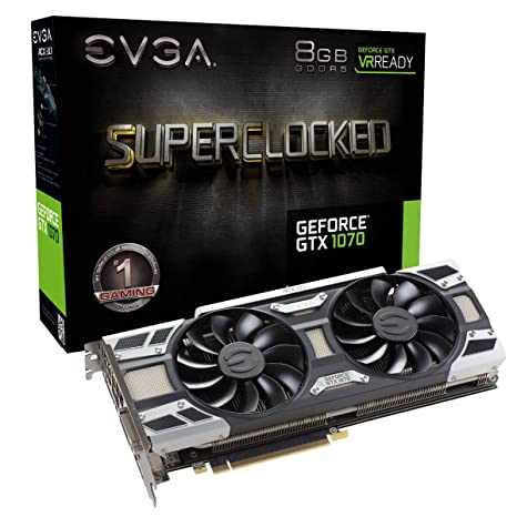 - EVGA GeForce GTX 1070 SC GAMING ACX 3.0 Tarjeta gráfica (8 GB GDDR5, LED, DX12 Soporte OSD PXOC)