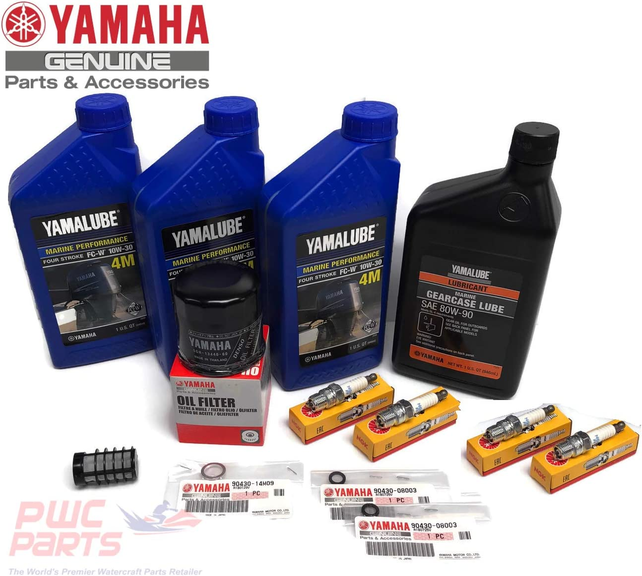 YAMAHA OEM 1995-2004 F50 T50 Oil Change 10W30 FC 4M Lower Unit Gear Lube Drain Fill Gasket Spark Plugs NGK DPR6EA-9 Primary Fuel Filter Maintenance Kit