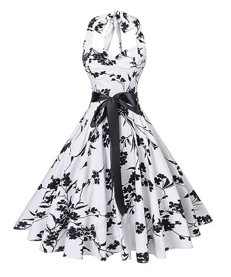 f24db4c28ce41 Amazon.com: V fashion Women's Vintage 1950s Halter Neck Polka Dot ...