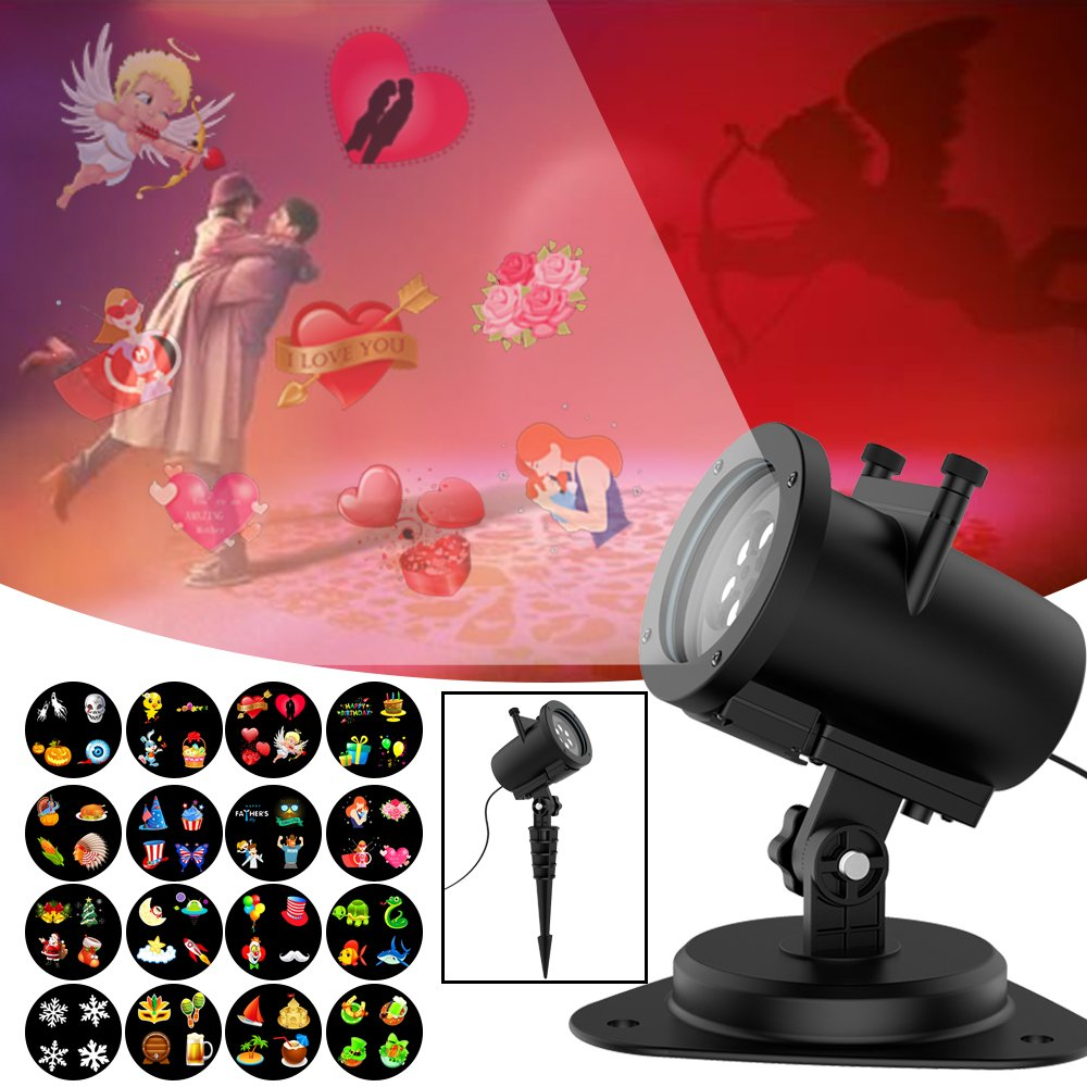 St. Patrick's Day Lights Projector 6W Waterproof IP65, Outdoor/Indoor Switchable Slides Moving Rotating Projector Led Lights for Christmas Weding Holiday Party Home Decoration Lamp (16 Slides )