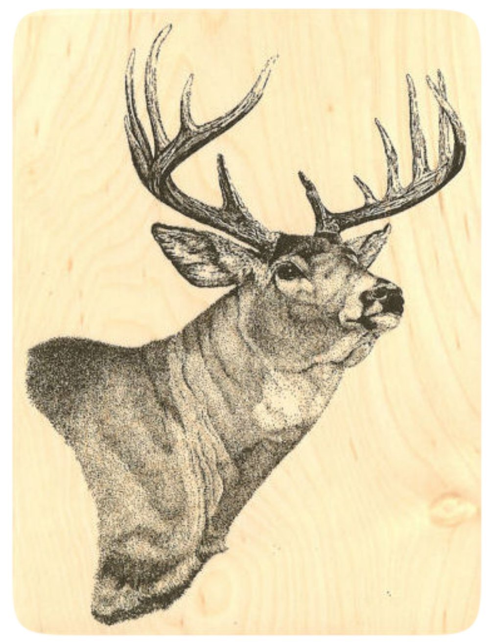 {Single Count} Unique & Custom (4'' by 5 1/4'' Inches) ''Whitetail Deer Head Taxidermy Wall Mount'' Rectangle Shaped Genuine Wood Mounted Rubber Inking Stamp [Large Size] by mySimple Products