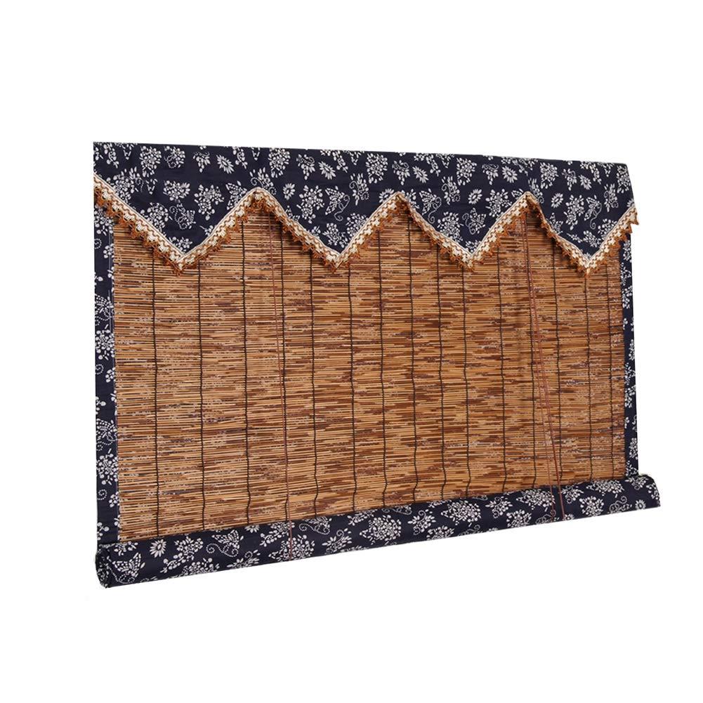 TH Reed Curtain Full Hemming Rulli avvolgibili, filtri Leggeri Roll Up Blinds con Valance per Giardino, Patio, Galleria, Balcone (Dimensioni   80×180cm)