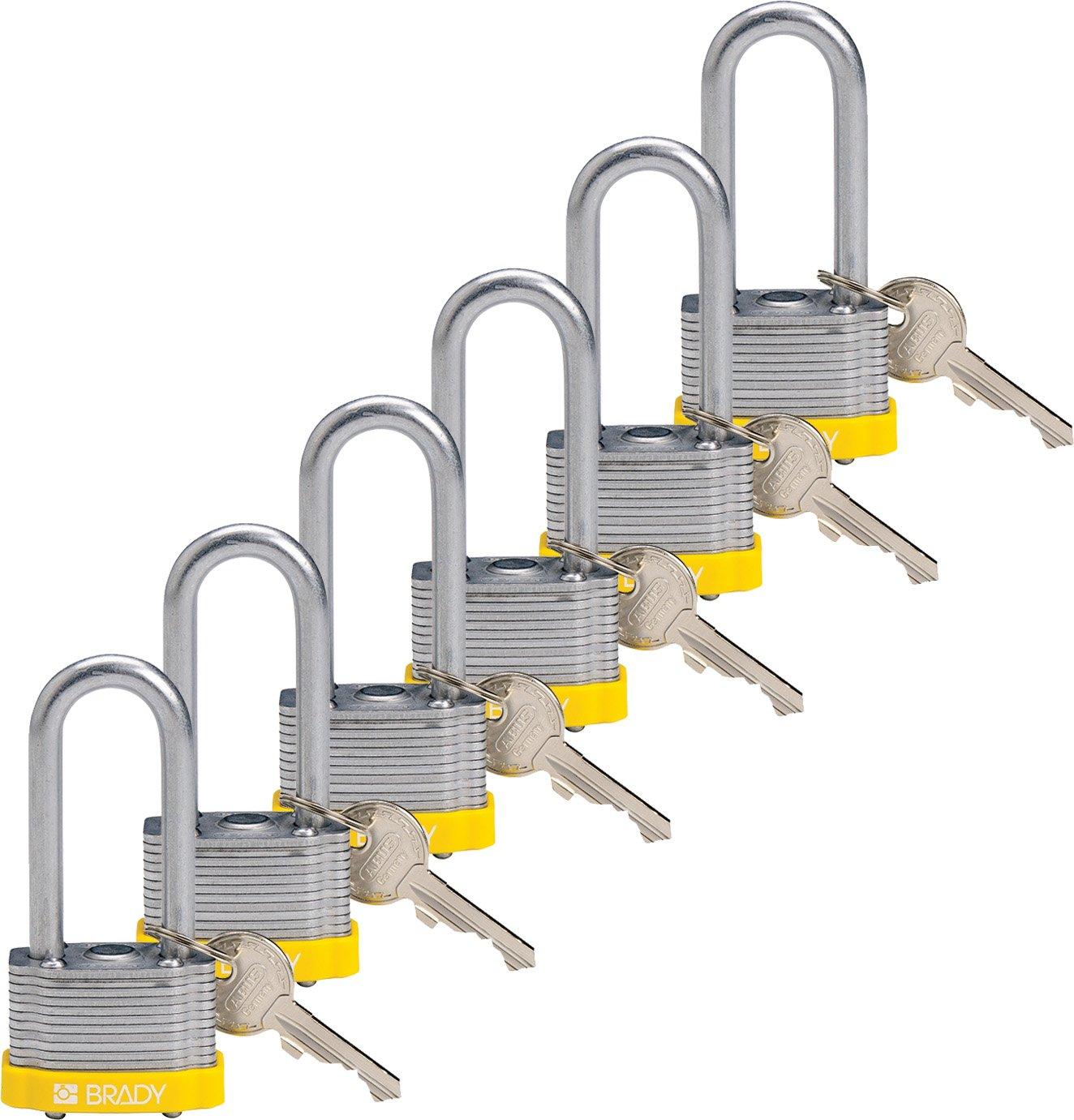 Brady 118982 Yellow, Key Retaining Steel PadLock - 2'' Shackle - Keyed Alike (6 Locks)