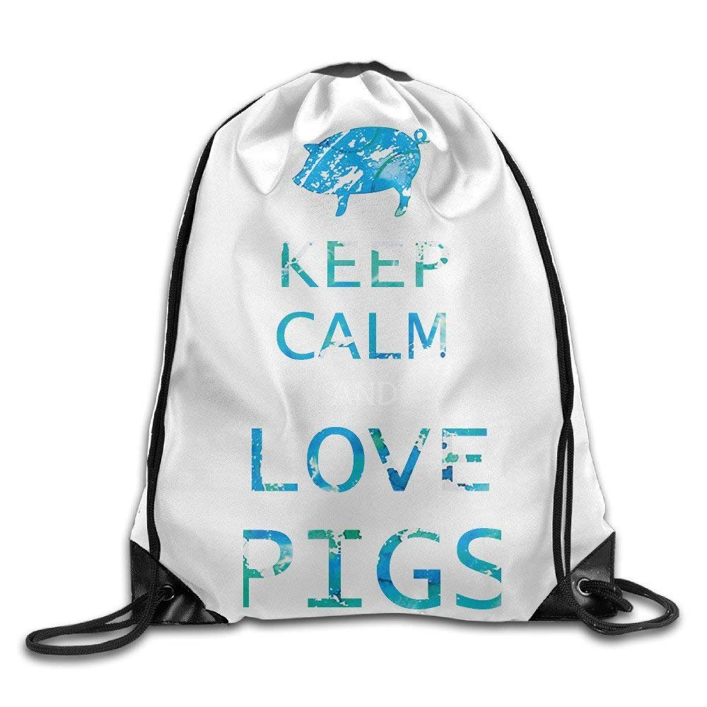 Keep Calm And Love Pigs Drawstring Bags Cute Backpack Shoulder Bags Gym Sport Pack