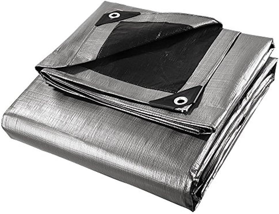 12 x 16 Heavy Duty Silver//Black Waterproof UV Blocking 10 Mil Poly Tarp