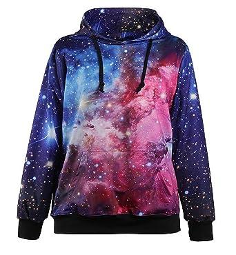 2eab6bcd1 Lovelife' Women Purple Galaxy Print Pocket Pullover Hoodies Sweatshirt:  Amazon.co.uk: Clothing