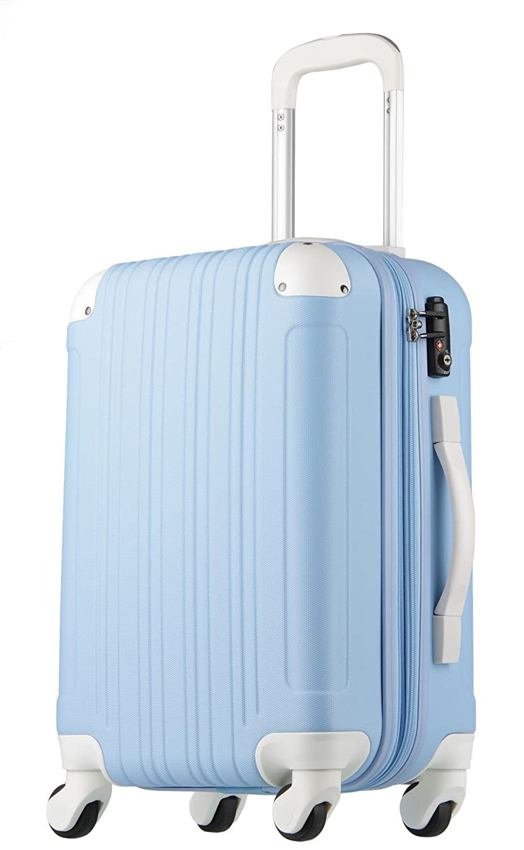 【レジェンドウォーカー】LEGEND WALKER スーツケース 容量拡張 TSAロック 超軽量 マット加工 ファスナー開閉 5082 B0797QY4RN Mサイズ(5~7泊/61(拡張時72)リットル)|ブルー/ホワイト ブルー/ホワイト Mサイズ(5~7泊/61(拡張時72)リットル)