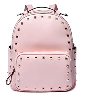 BOSTANTEN Rivet Leather Backpack Purse Satchel School Bags Knapsack for Women Pink