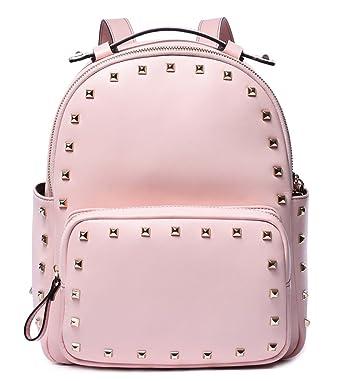 BOSTANTEN Rivet Leather Backpack Purse Satchel School Bags Knapsack for Women Pink