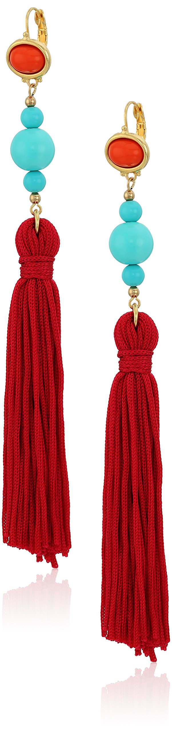 Kenneth Jay Lane Red Top Turquoise Bead with Red Tassel Drop Earrings