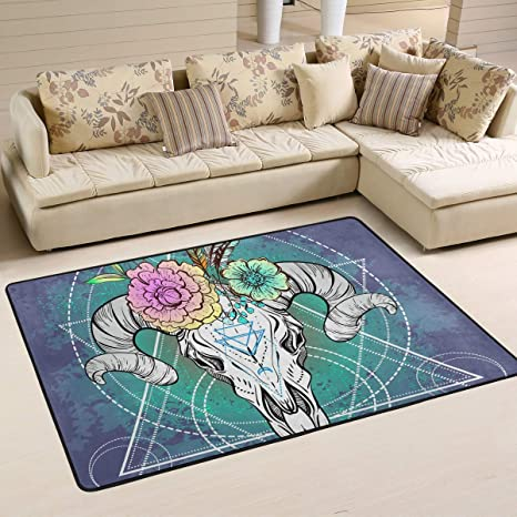 Amazon.com: WIHVE Area Rug Bull Skull Boho Flower Feather ...