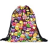 Bluester QQ Emoji Backpacks 3D Printing Bags Drawstring School Party Bag Backpack
