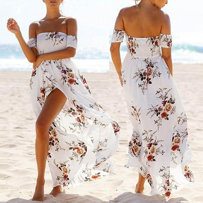 vestidos de mujer, Switchali Mujer Verano Boho Gasa Fuera del hombro Vestido de playa Floral Impresión Largo Maxi Vestir (Asiático Tamaño:X-Large, ...
