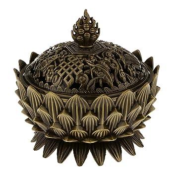 Quemador de Incienso Hornilla Estufa Reflujo Incensario Aroma Humo Forma de Loto Cono M - Bronce: Amazon.es: Hogar