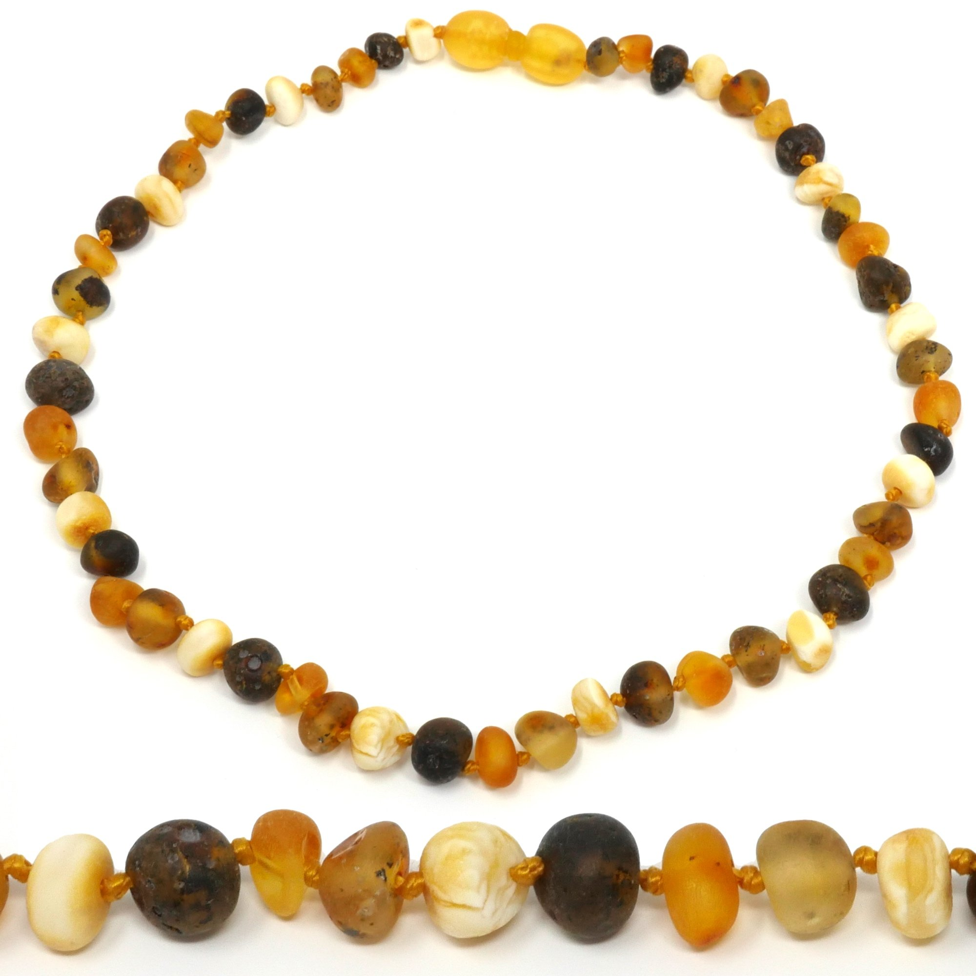 Amber Teething Necklace - TRULY Raw 100% Baltic Amber (11'', Multicolor)
