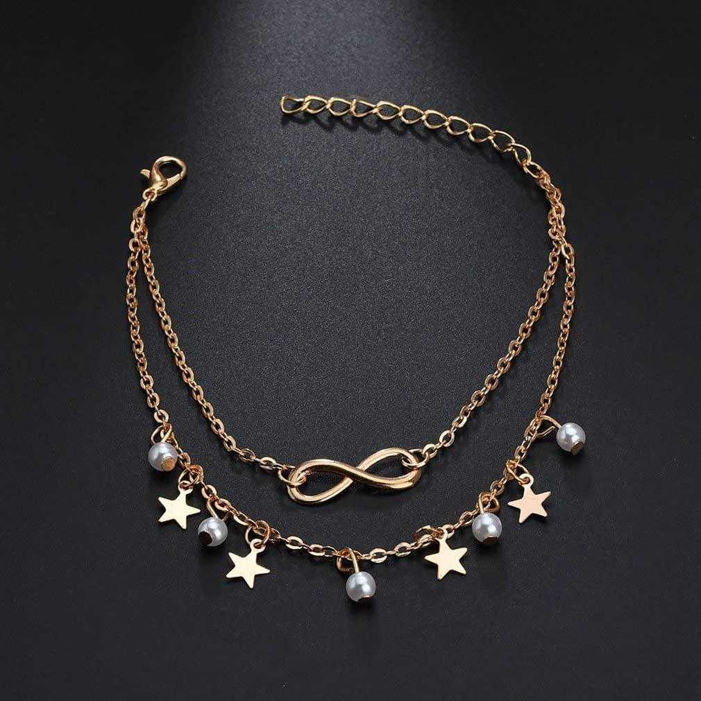 Iumer 1pcs Gold Anklet for Women 2 Layers Fringe Beaded Foot Chain Jewelry