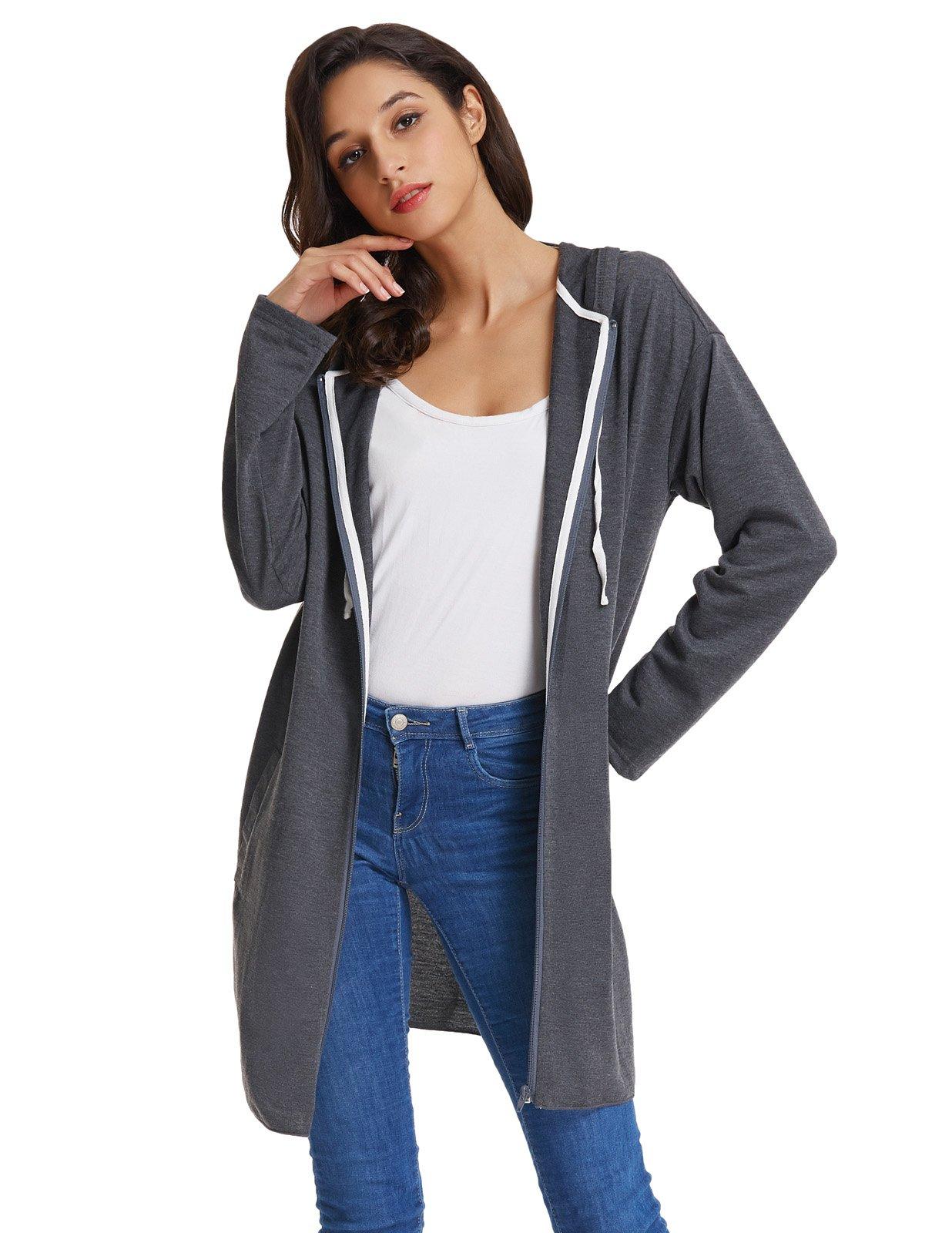 GRACE KARIN Basic Lightweight Jersey Hooded Sweatshirt for Women (M,Dark Grey)