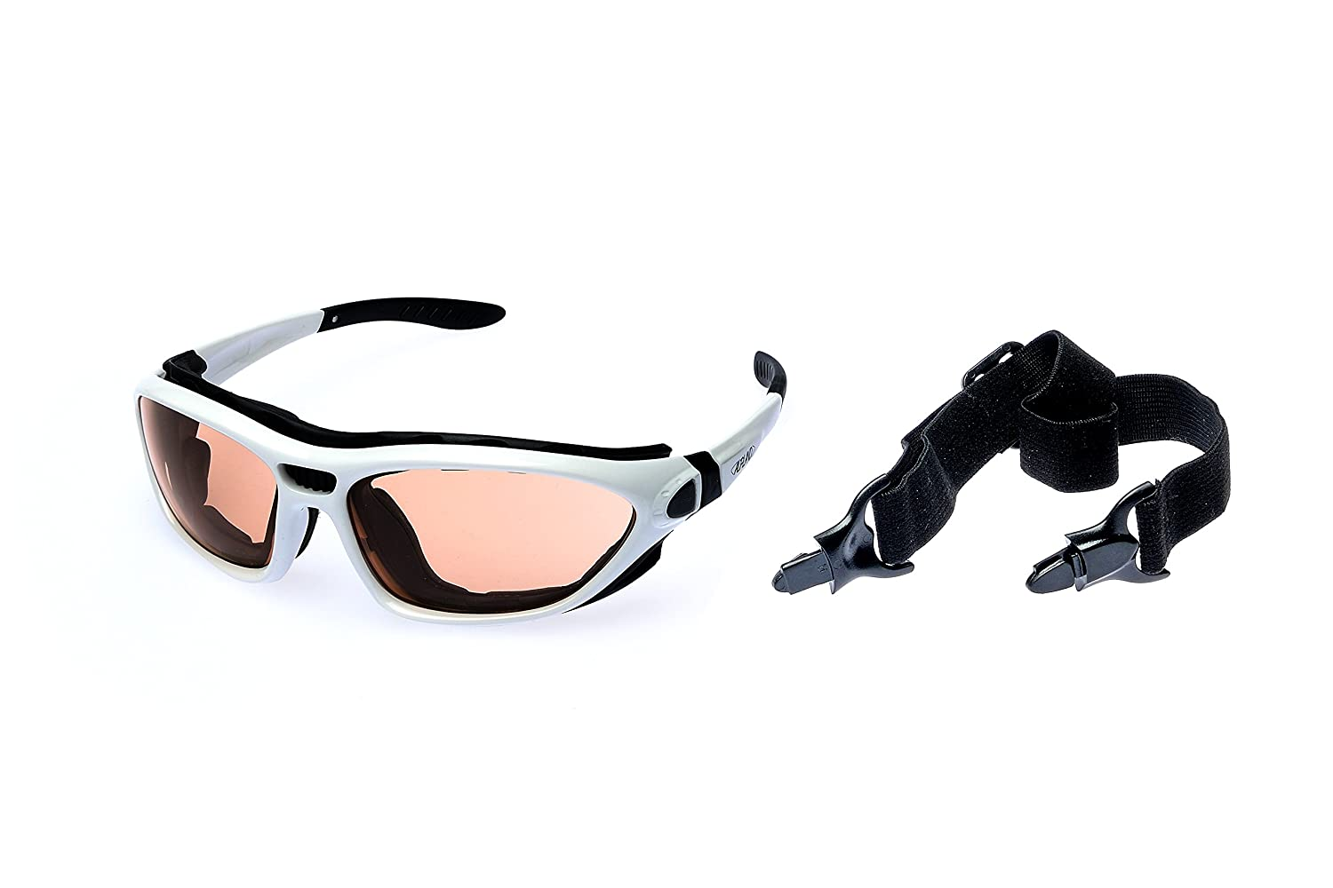 Alpland Sports glasses Mountains glacier glasses for ski sports kitesurfing cycling with band and strap changeable - glass contrast enhanced inkl.Softbag