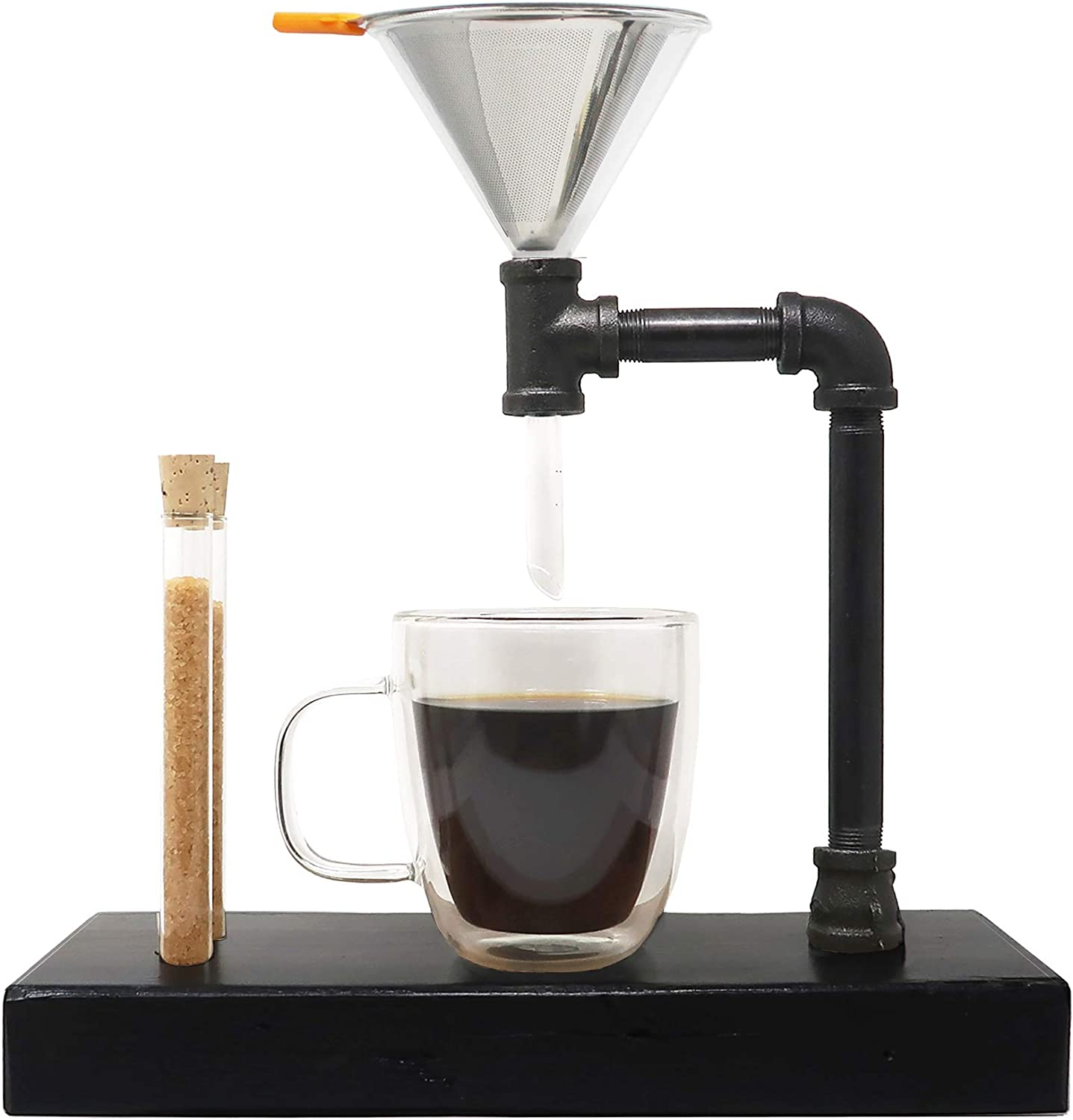Pour Over Coffee Maker with Glass Funnel Pour Over - Pour Over Coffee Dripper - Reclaimed Wood and Pipe - 3-Cups (14 oz/400ml) (Charcoal)