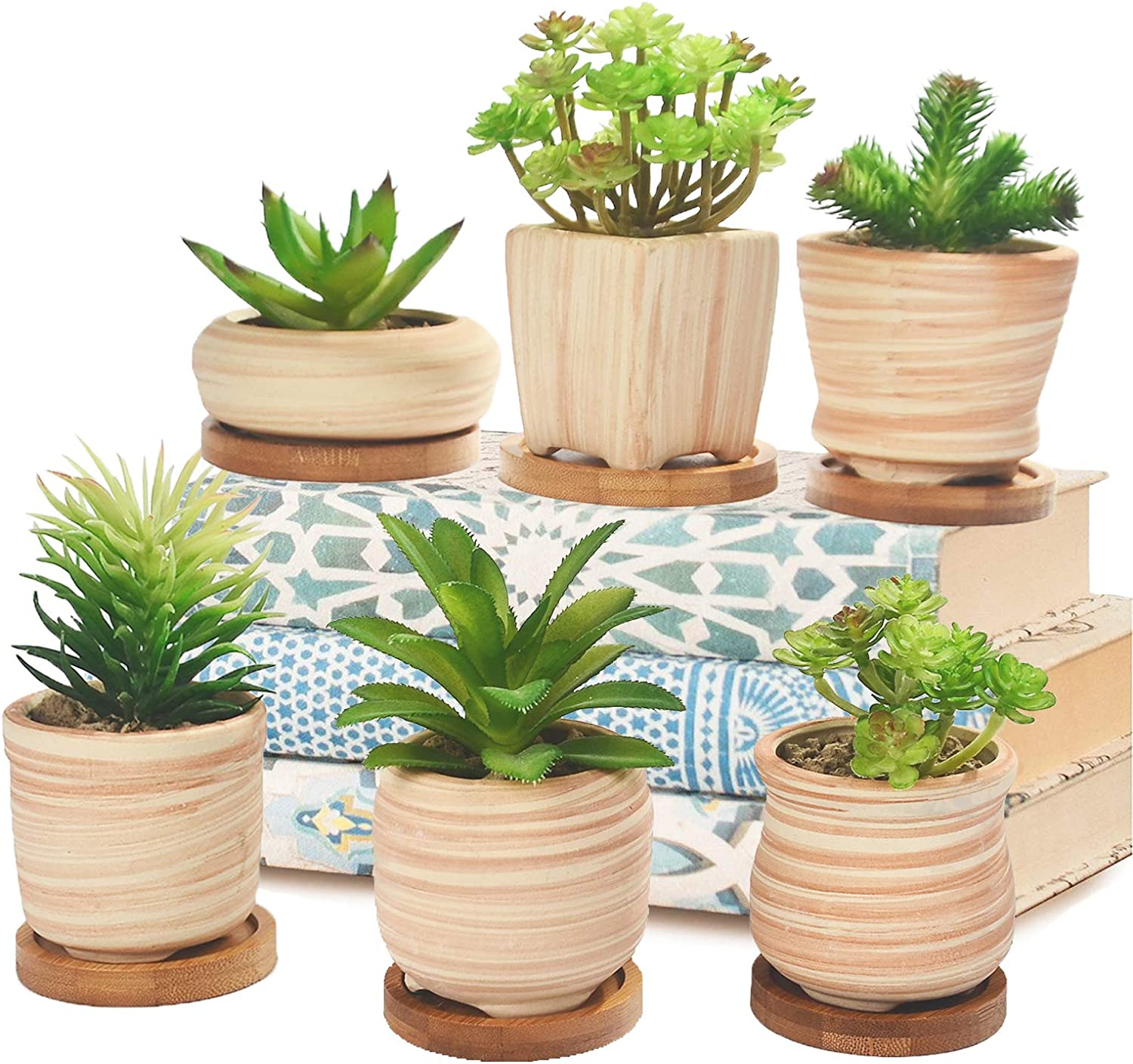 Joyhug 3 Inch Ceramic Wooden Pattern Succulent Plant Pot - Small Planter Container for Mini Bonsai, Cactus, Herbs - Decorative Garden Pots with Bamboo Tray, Gift Idea Set of 6