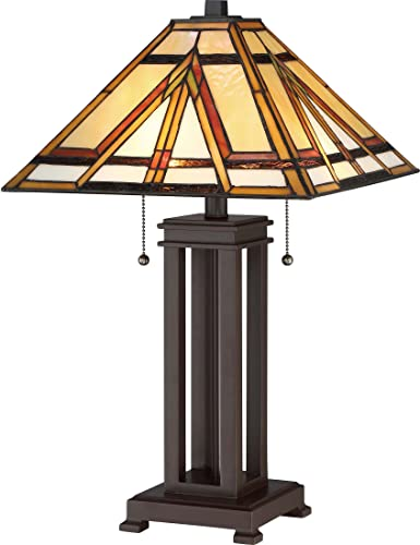Quoizel TF2095TRS Gibbons Tiffany Table Lamp, 2-Light, 150 Watts, Russet 23 H x 14 W