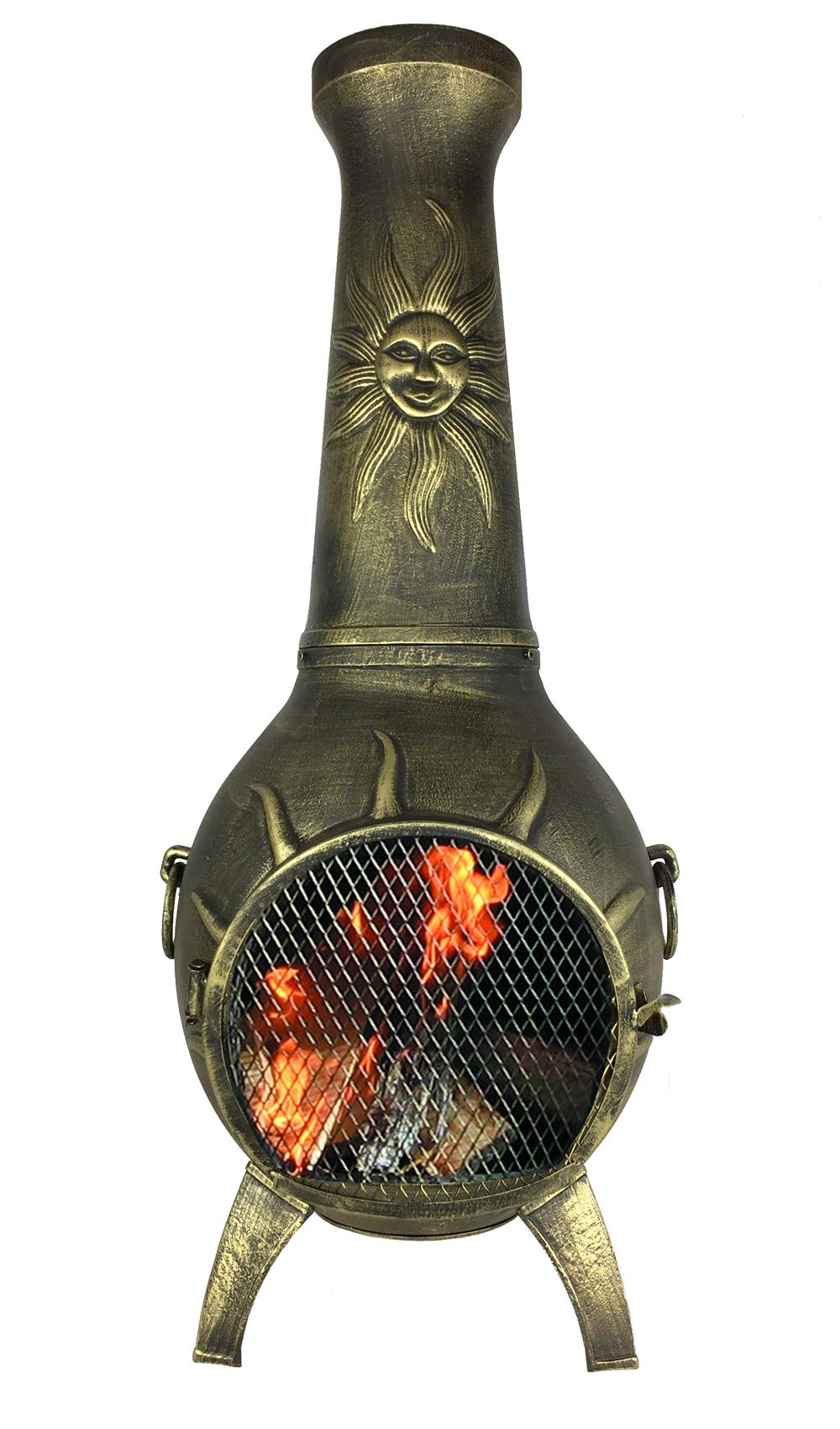 The Blue Rooster CAST Aluminum Sun Stack Wood Burning Chiminea in Gold Accent. by The Blue Rooster