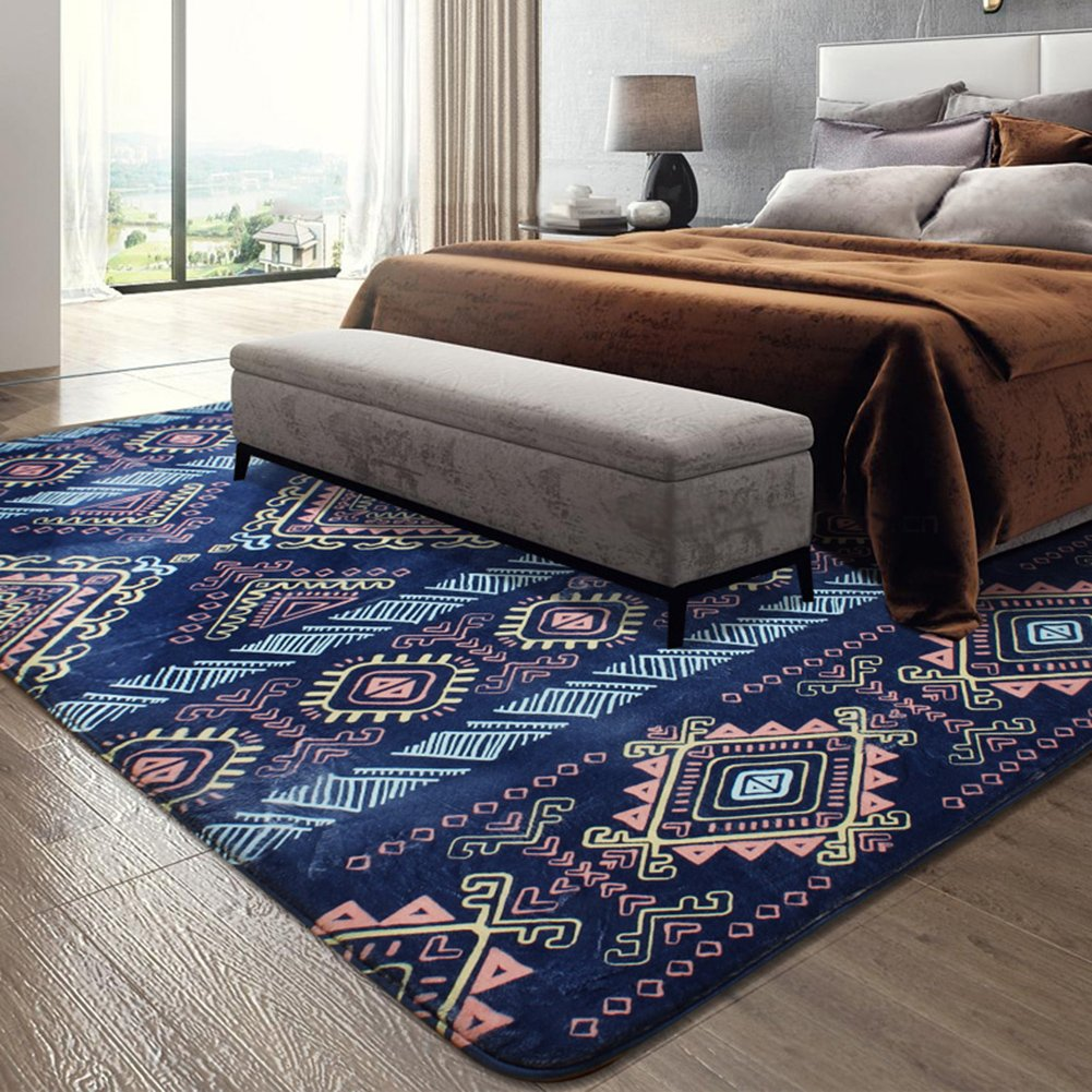 Mediterranean Sea Geometry Home Rugs - MeMoreCool Seven Patterns No Fading Anti-slipping Coral Fleece Living Room Tea Table Carpets 63 X 91 Inch