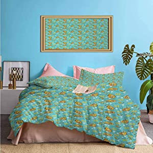 Paisley Bedding Duvet Cover 3 Piece Set Middle Pattern Persian Teardrop Shape with Floral Details – Comfortable Durable Bedding Set Yellow Pale Blue Ruby | 1 Comforter Cover/2 Pillow Shams Twin