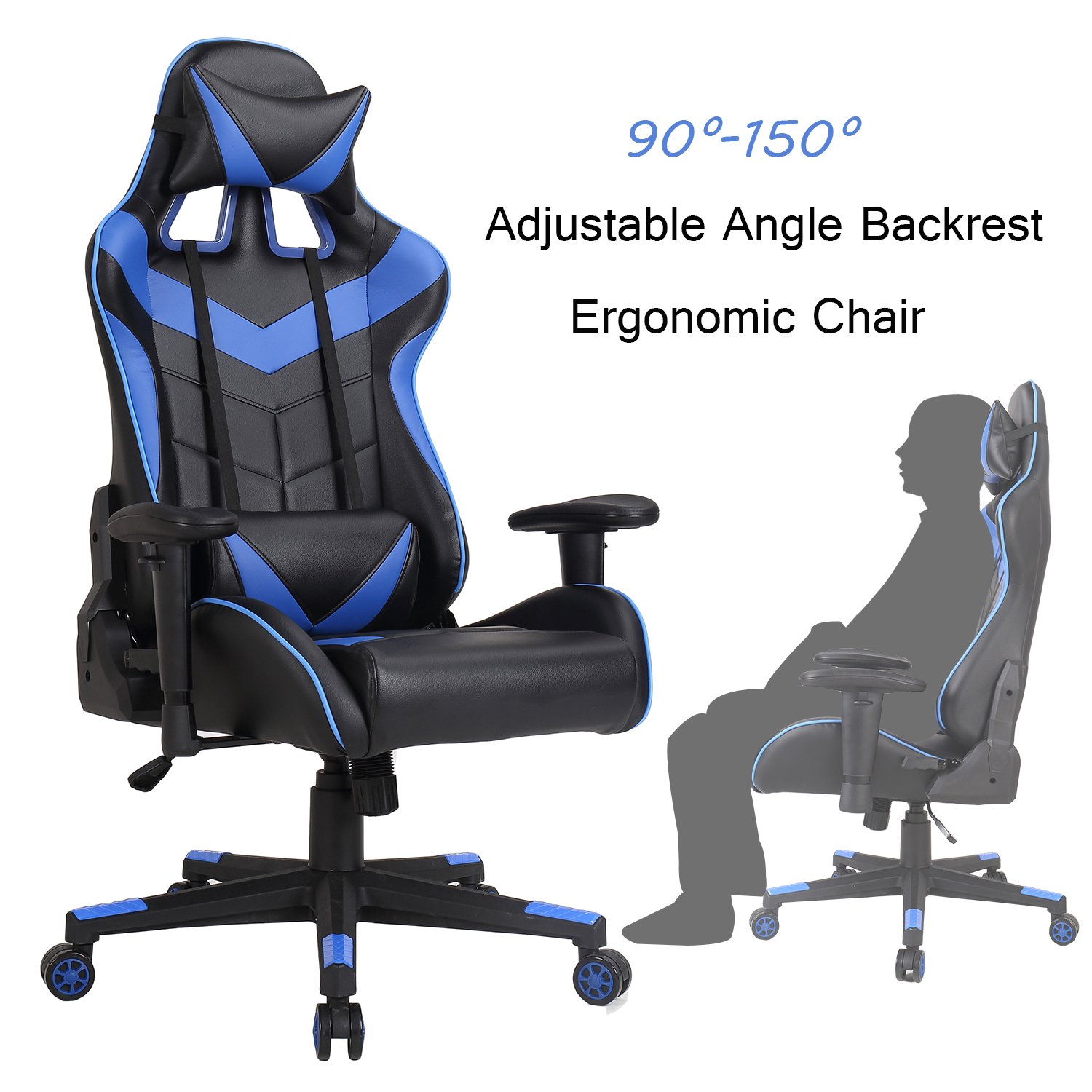 Racing Chair Swivel Office Executive-Gaming Computer Chair Desk Task Ergonomic Rocker PU Leather with Lumbar Support and Head Support Cushion for Home Adjustment High Back Chairs