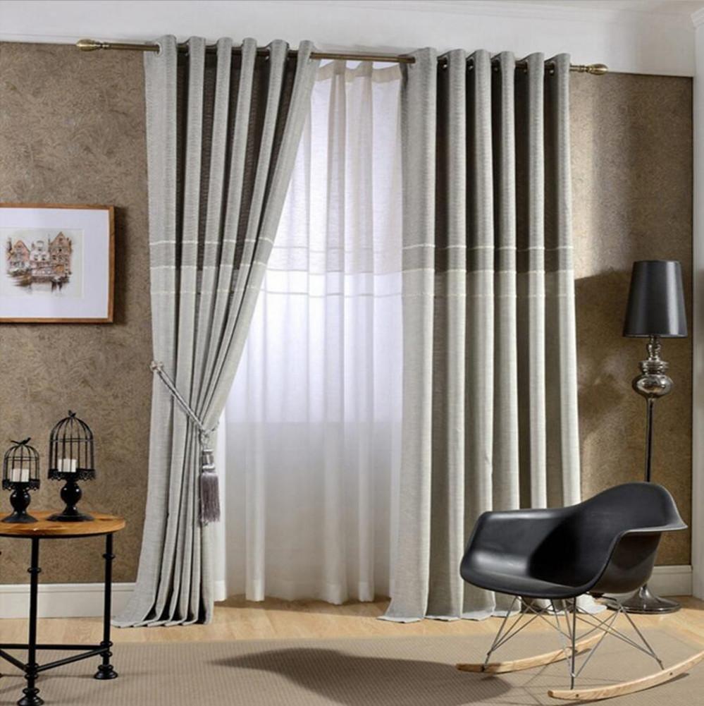 Spessore in simil lino jacquard tende per soggiorno per camera da letto finestra moderna tende Custom Made, Light Brown, 1pcx(150x250cm) wexe.com